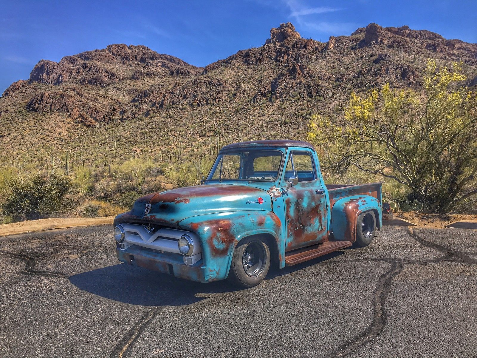 Nice Patina 1955 Ford F 100 Step Side Custom Pickup Truck